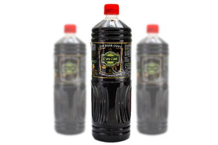 Соевый соус (Сэнсой) «Классический». 1 литр. В бутылке